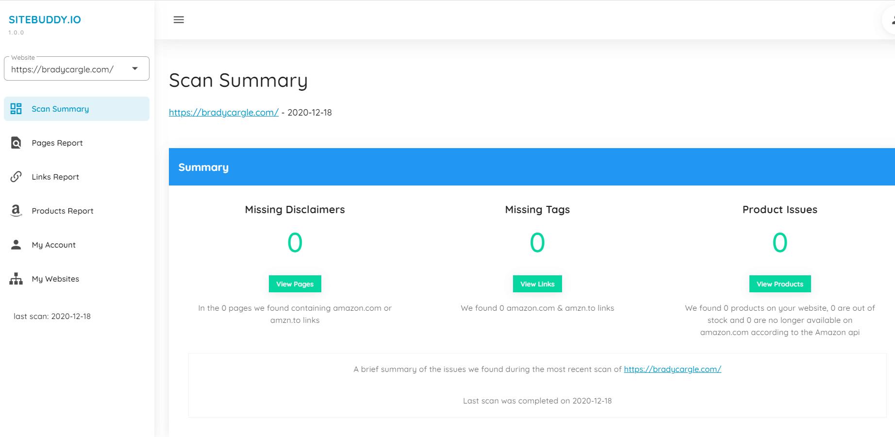 sitebuddy user dashboard